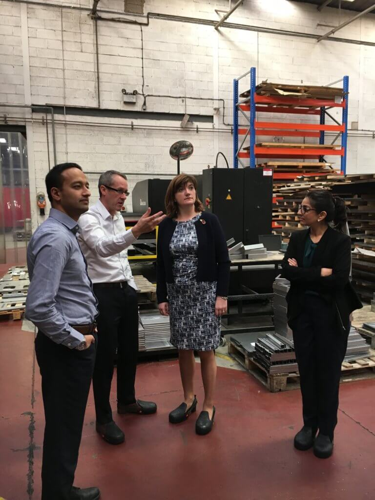 Nicky Morgan, MP for Loughborough on a factory tour