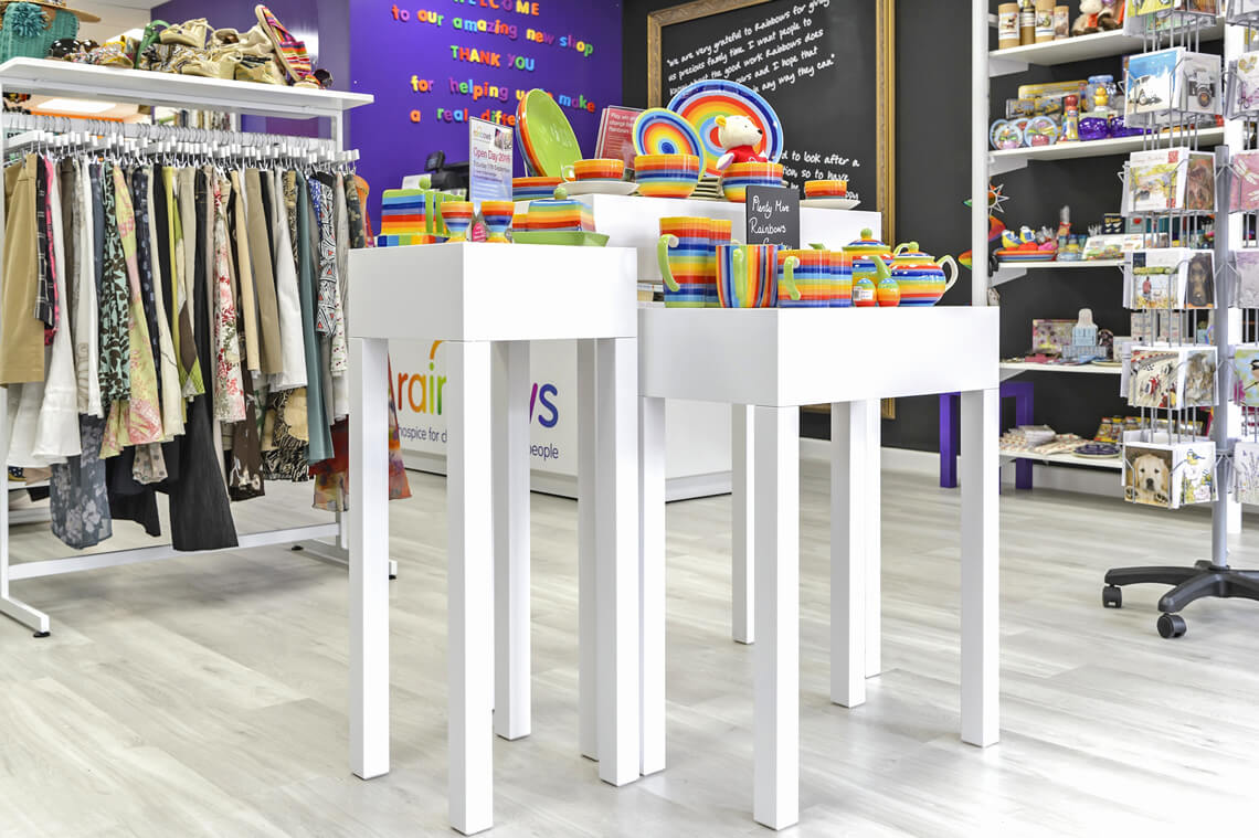 bespoke metal fixtures and fittings inc. a display stand for Rainbows' shop