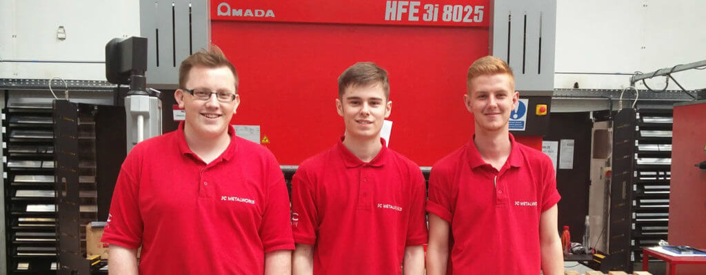 the apprentices on the JC Metalworks Engineering Apprenticeships training scheme - Loughborough 2017