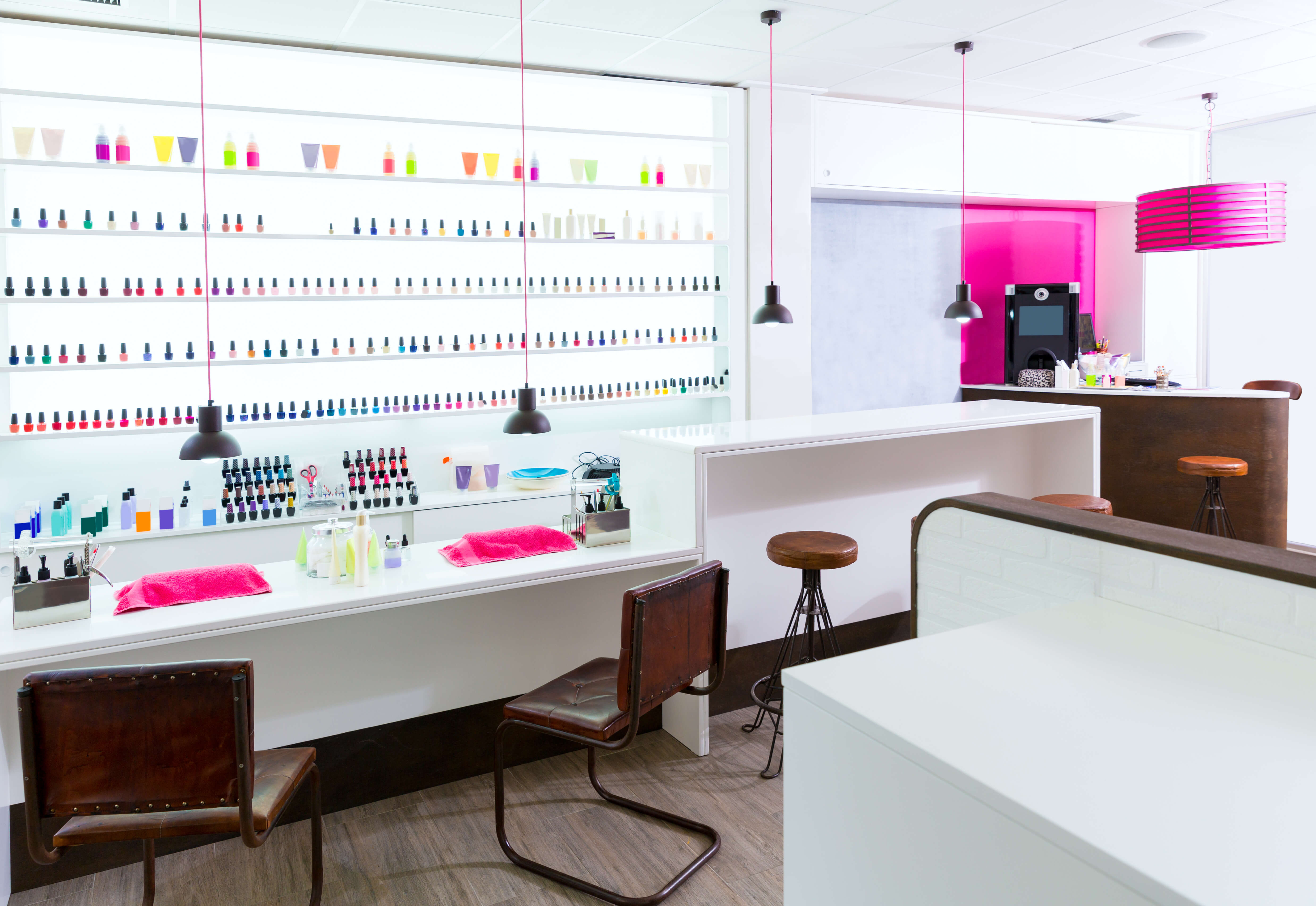 cosmetic units in a nail salon