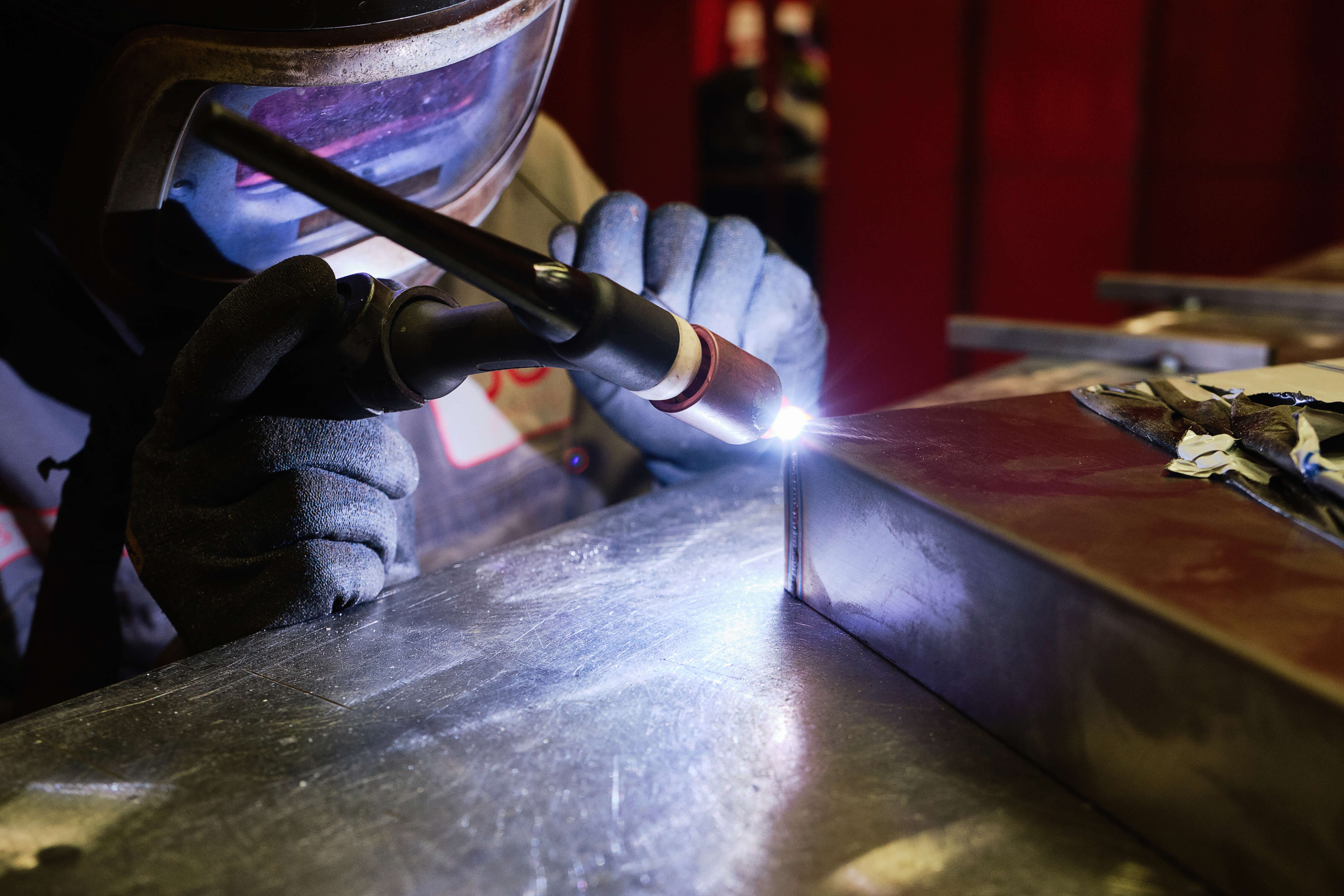 TIG Welding aluminium and steel sheets for metal fabrication projects